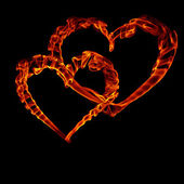 Two fire heart for valentine day — Stock Photo