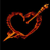 Fire heart with arrow — Stock Photo