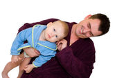 Father and son dressing gown — Stock Photo