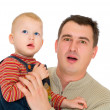 Stock Photo: Father and son look with open mouth