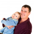 Stock Photo: Father and son dressing gown