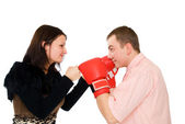 Young man and woman boxing — Stock Photo