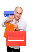 Man bring paper bags — Stock Photo