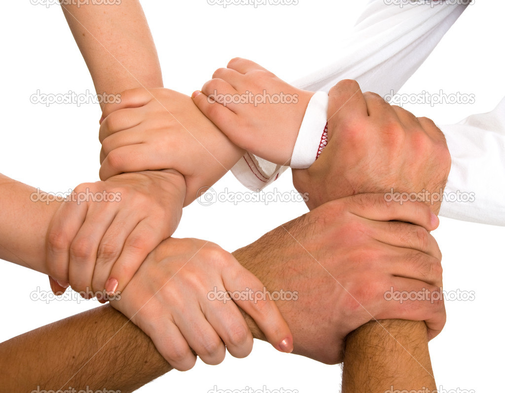 Hands holding each other isolated on white — Stockfoto #2044725