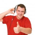 Smile man in headphones — Stock Photo