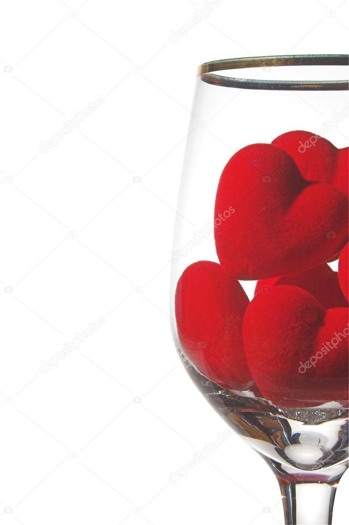 Hearts in a wine glass. Concept of love. — Stock Photo #1620235