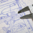 Calipers and Blueprint - Lizenzfreies Foto