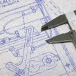 Calipers and Blueprint - Foto Stock
