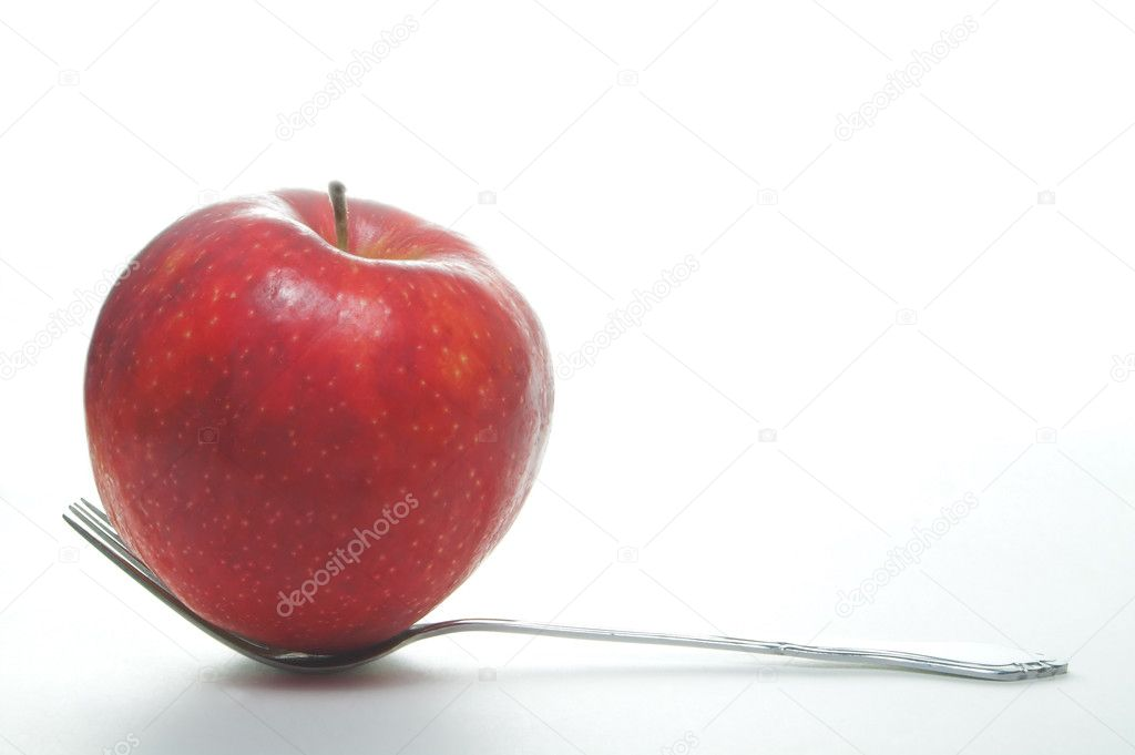 An fork full of apple. A serving of fruit. — Stock Photo #1696732