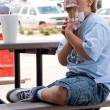 Boy Eating Ice Cream — Stock Photo