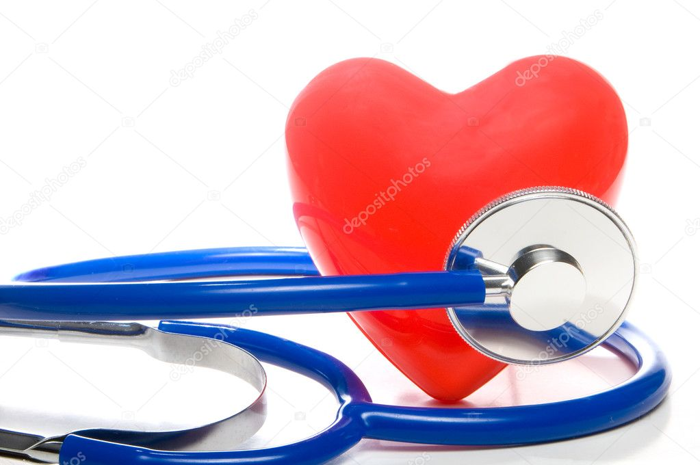 A red heart shape and a medical stethoscope. — Stock Photo #1708582