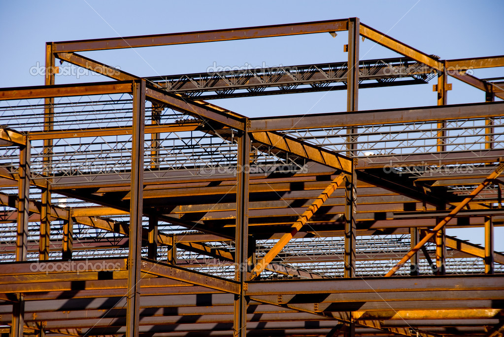 steel building frame construction stock photo 1739170