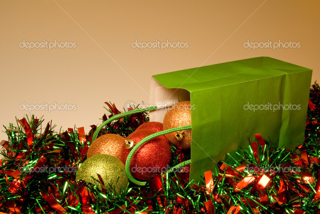 A pile of Christmas ornaments in a gift bag. — Stock Photo #1739833