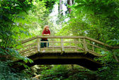 Boy on a Footbridge — Stock Photo