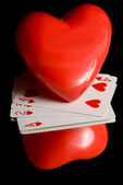Heart and Playing Cards — Stock Photo
