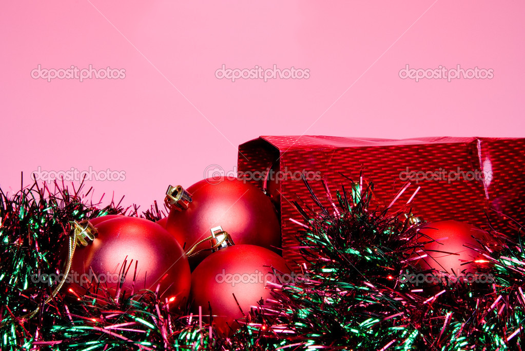 Christmas Ornaments in a holiday gift bag.  Stock Photo #2017954