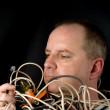Man Tangled in Wires — Stock Photo