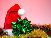 Christmas Hat and Bow — Stock Photo