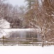 Snowy Pond - Stock Photo