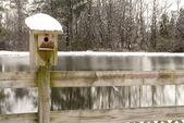 Birdhouse in the Snow — Stock Photo