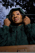 Woman in Raincoat — Stock Photo