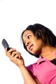 Vrouw texting — Stockfoto