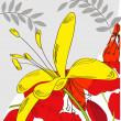 Decorative card with yellow flower — ストックベクタ