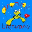 Birthday card with frog — Stock Vector