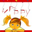 Birthday card with girl — Stock Vector #1619677