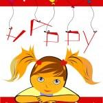Birthday card with girl — Stock Vector