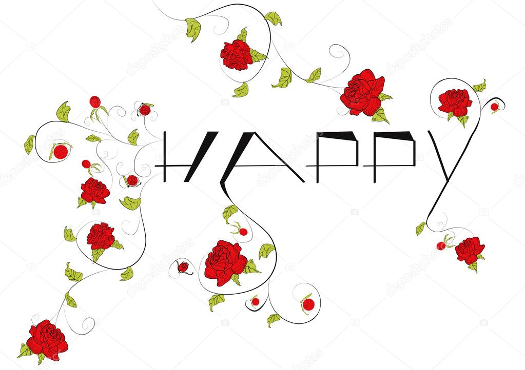 The word happy with decorative roses flowers — Stock Vector #1646745