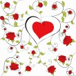 Vector de stock : Decorative heart with floral ornament