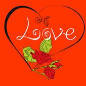 Tarjeta con corazón y rosas — Vector de stock