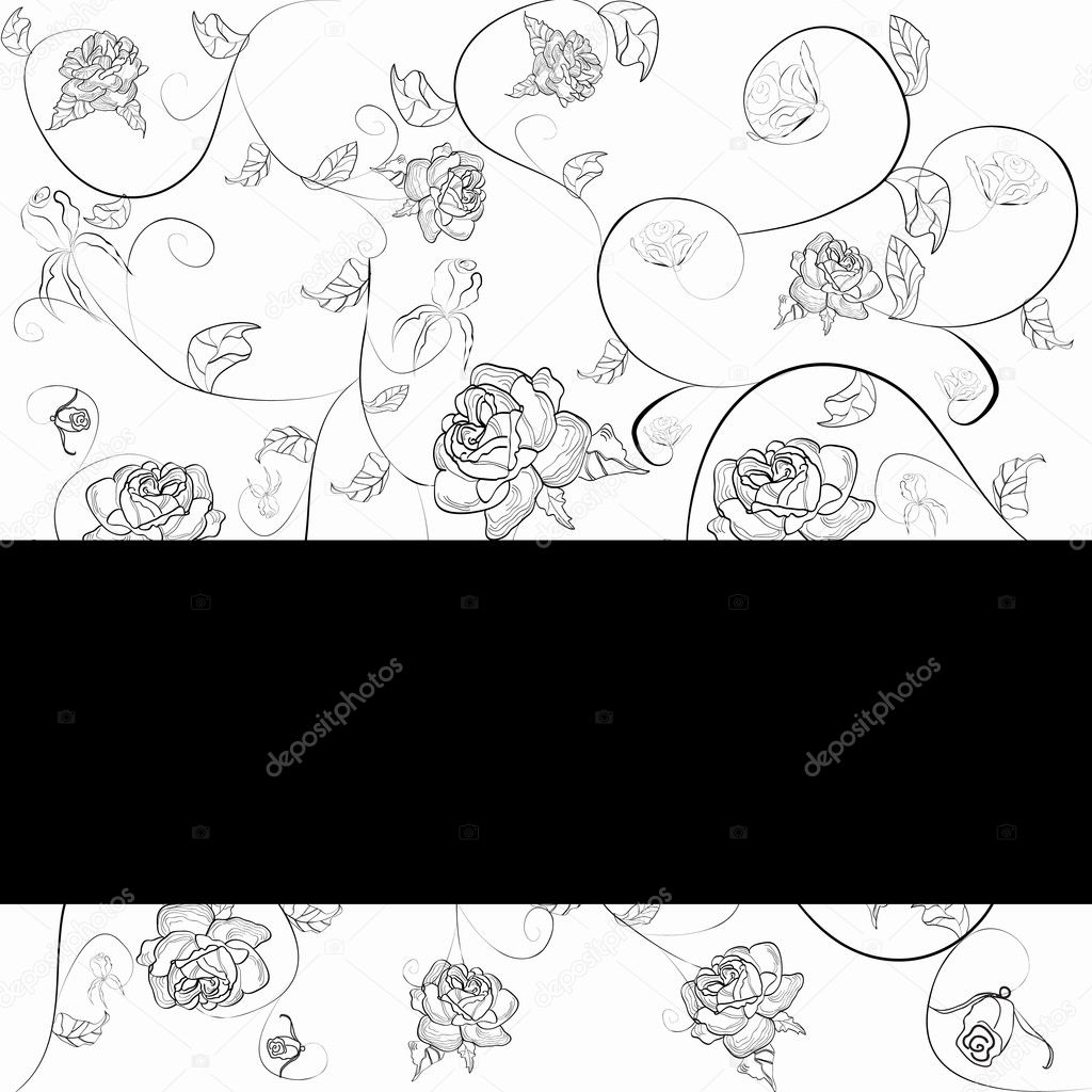 Template for post card with roses. Vector illustration  Stock Vector #1691439
