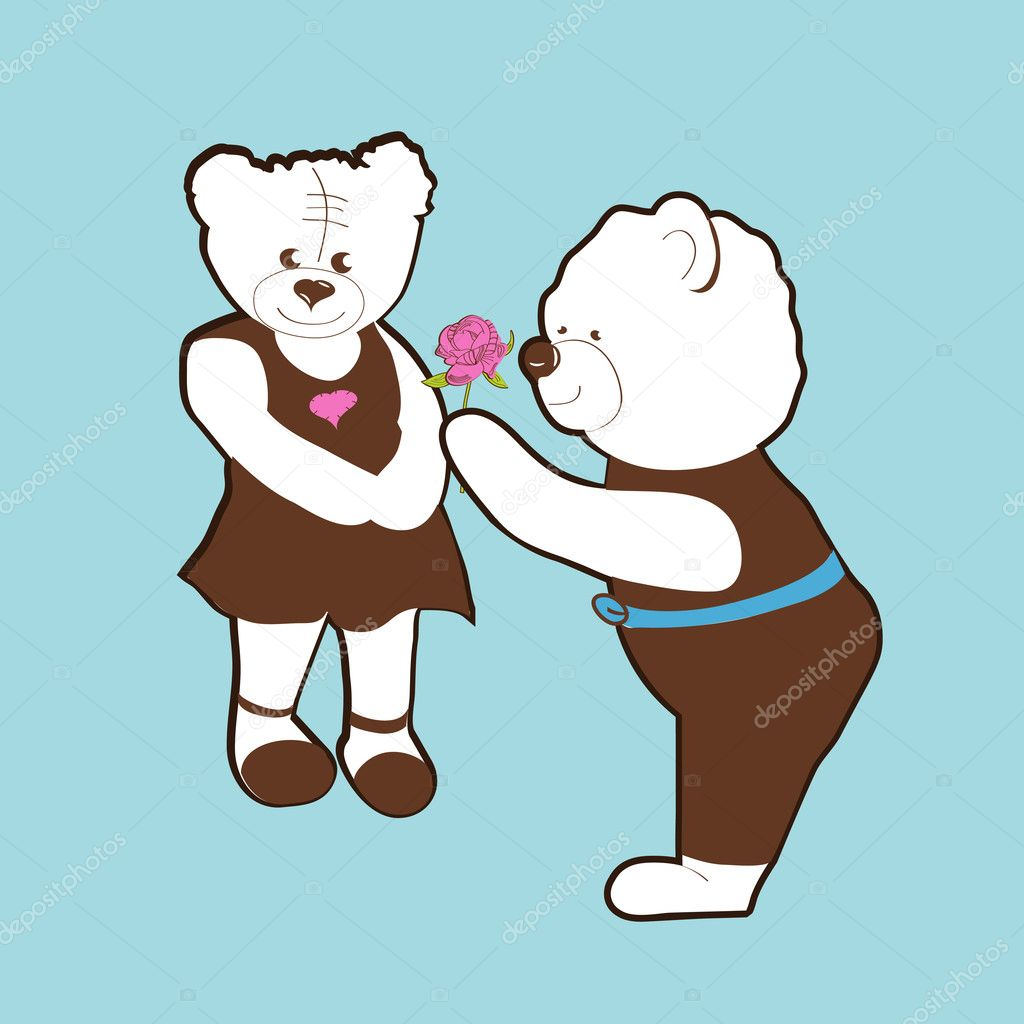 Valentine bears vector.  Fully editable  vector illustration. — Stock Vector #1765270