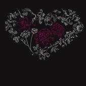 Zwarte achtergrond met hart — Stockvector