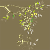 Stylized background with spring branch — Stock Vector