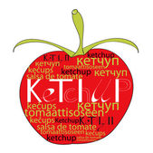 Red tomato with word ketchup — Stock Vector