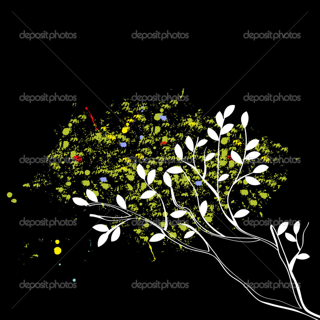 Original tree on black — Stock Vector #2054425