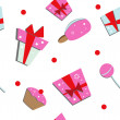 Royalty-Free Stock Vector Image: Seamless of gift boxes and sweets
