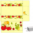 Template for box with fruit — Stock Vector