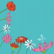 Blue decorative background with flower — Stock Vector