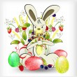 Rabbit with easter egg — Stock Vector