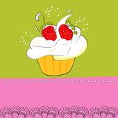 Dekorative karte mit cupcake — Stockvektor