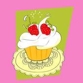 いちごのカップケーキ — ストックベクタ
