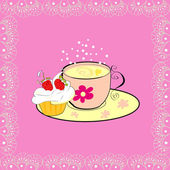 A cup of tea with cupcake — Stock Vector