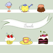 Stylized background with sweets — Stock Vector