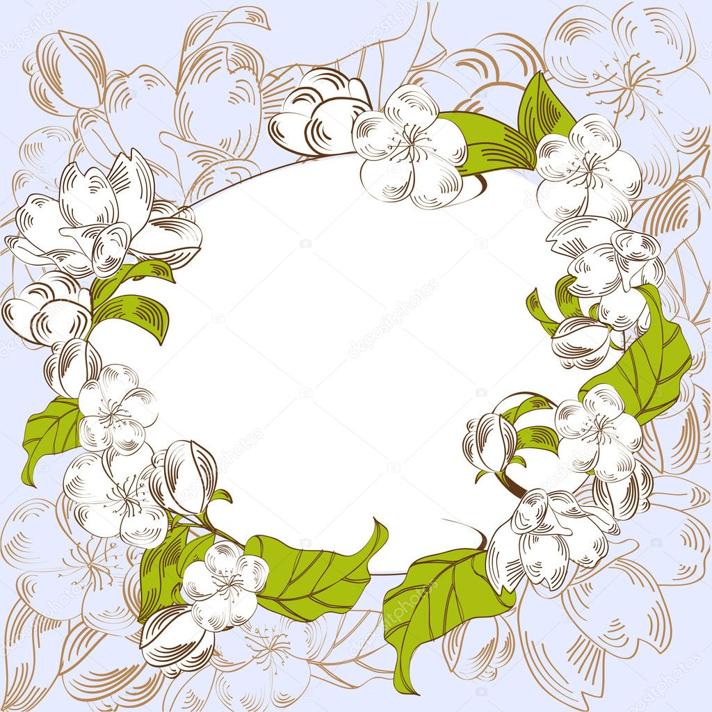 Blue background with decorative flowers — Stock Vector #2352421