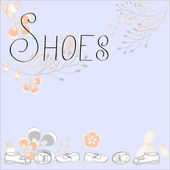 Inscription SHOES with floral ornament — Stock Vector