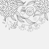 Monokrom floral bakgrund — Stockvektor